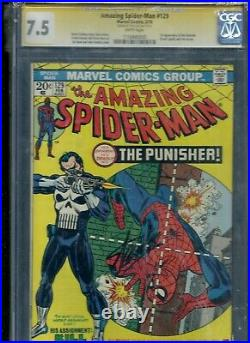 AMAZING SPIDER-MAN # 129 CGC 7.5 WP SS SIGNED STAN LEE 1st PUNISHER FRANK CASTLE