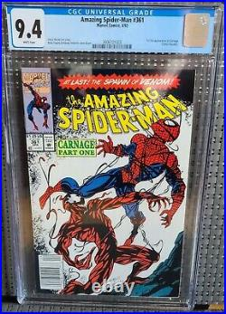 AMAZING SPIDER-MAN #361 CGC 9.4 Newsstand! WP1st Appear. Of CarnageAUCTION