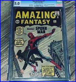 Amazing Fantasy 15 CGC 5.0 Marvel 1962 Holy Grail 1st Appearance of Spider-man