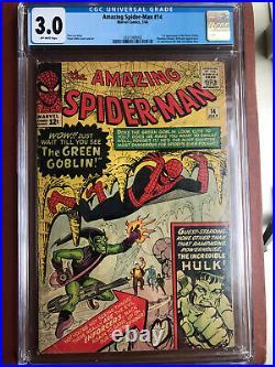 Amazing Spider-Man 14 CGC 3.0 OW Ditko Lee Green Goblin Hulk SWEET