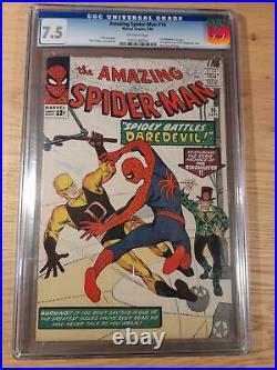 Amazing Spider-Man # 16, Marvel 1964, 1st Daredevil crossover, CGC 7.5