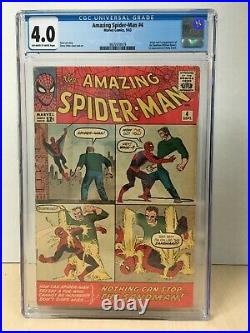 Amazing Spider-Man #4 (1963) CGC 4.0 1st Appearance Sandman OwithW Pages