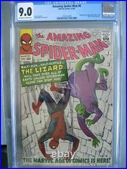 Amazing Spider-Man #6 CGC 9.0 (was CBCS 9.2 WP) 1963 Origin & 1st app the Lizard