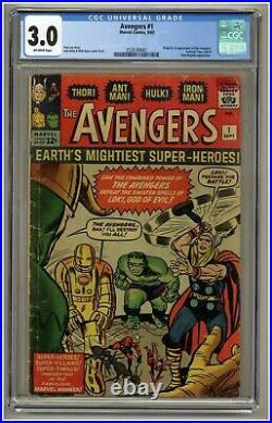 Avengers #1 (CGC 3.0) OW Marvel Comics 1963 Thor Iron Man Hulk Ant-Man (j#1957)
