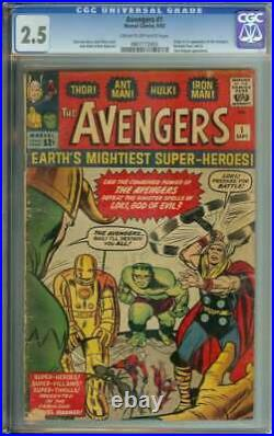 Avengers #1 Cgc 2.5 Cr/ow Pages // Origin + 1st Appearance Of The Avengers 1963
