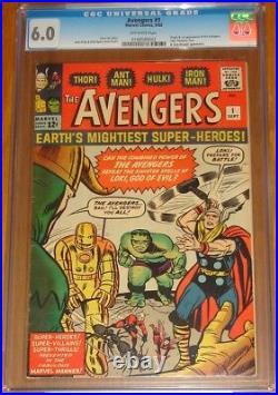 Avengers #1 Cgc Fn (6.0) Off White Pages Marvel Comics September 1963 (sa)
