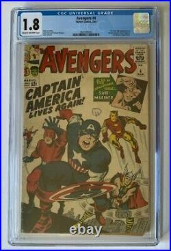 Avengers #4 CGC 1.8 1st Silver Age Captain America 1964 Marvel Comics