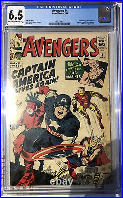 Avengers #4 Cgc 6.5 1st Appearance Of Captain America Silver Age 1964