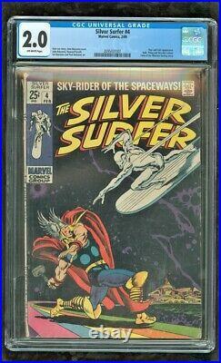 Cgc 2.0 Silver Surfer #4 Marvel Comics 1969 Classic Cover Battles Thor (sp) Rare