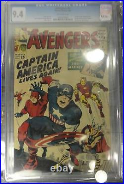 Cgc 9.4 The Avengers #4 1st Silver Age Appearance Of Captain America! 1964