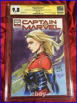 Cgc Ss 9.8captain Marvel #1original Art By Artgerm+mounts+signed Brie Larson