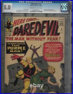 Daredevil #4 CGC graded 5.0 1st appearance Purple Man Marvel comics
