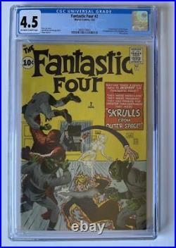 Fantastic Four #2 CGC 4.5 1st App Skrulls 2nd FF Marvel Comics