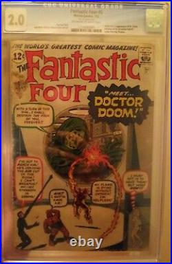 Fantastic Four #5 CGC 2.0 OWithW Origin & 1st Appearance of Dr. Doom OLD CASE