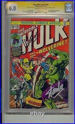 Incredible Hulk #181 Cgc 6.0 Ss Signed Stan Lee Trimpe Romita 1st Wolverine