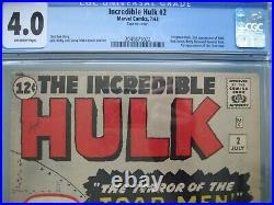 Incredible Hulk #2 CGC 4.0 Marvel Comics 1962 1st green Hulk & 1st app Toad Men
