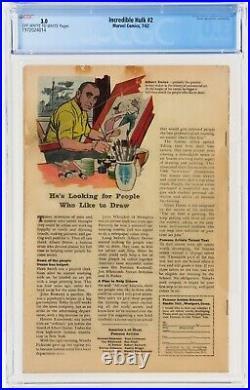 Incredible Hulk #2 (Jul 1962, Marvel Comics) CGC 3.0 GD/VG 1st Green Hulk