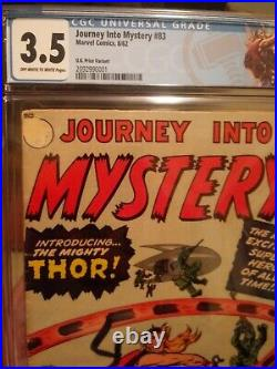 Journey Into Mystery #83 CGC 3.5 OWithW KEY (UK VARIANT) 1st Appearance of Thor