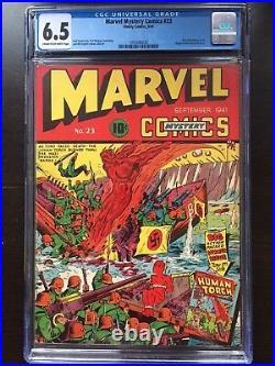MARVEL MYSTERY COMICS #23 CGC FN+ 6.5 CM-OW classic Torch cvr, origin Vision
