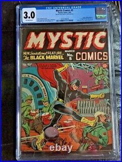 MYSTIC COMICS #5 CGC GD/VG 3.0 OW Schomburg German war cvr 1st Black Marvel