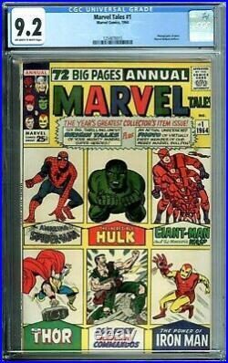 Marvel Tales 1 Cgc 9.2 Marvel Tales Annual Rare Spiderman Thor Hulk Newcase 1964