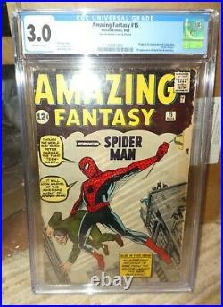 Marvel comics Amazing Fantasy 15 1st appearance Spiderman 1962 CGC 3.0 avengers