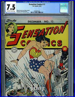 Sensation Comics # 12 CGC 7.5 Golden Age Wonder Woman 1942 Amricons K19