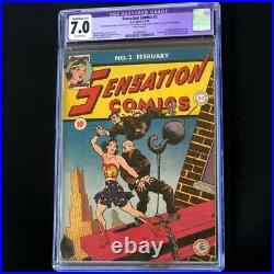 Sensation Comics #2 (DC 1942) CGC 7.0 Restored Golden Age Wonder Woman Key