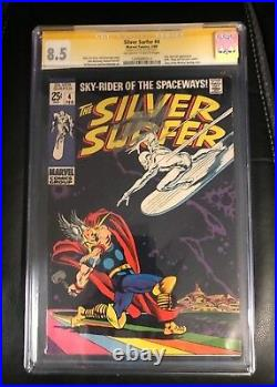 Silver Surfer #4 (Marvel 2/1969) CGC 8.5 VF+ OWithW Classic Thor / Silver Surfer