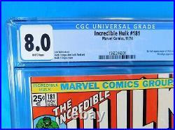 The Incredible Hulk #181 Marvel Comics 1974 CGC Universal Grade 8.0 WOLVERINE