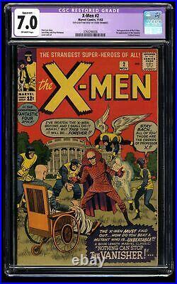 X-Men #2 CGC FN/VF 7.0 Off White 1st Vanisher! Marvel Comics
