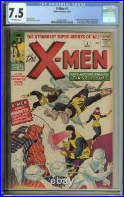 X-men #1 Cgc 7.5 Ow Pages // Origin + 1st Appearance Of X-men 1963